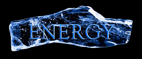 Word ENERGY frozen in the ice on a black background