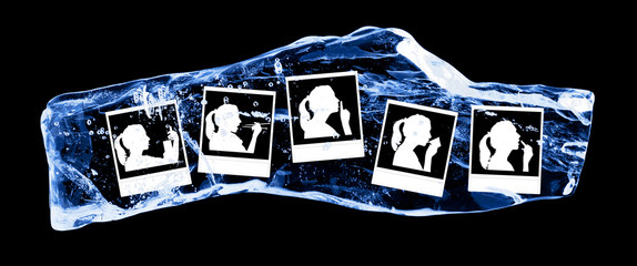 Photo a woman frozen in the ice on a black background
