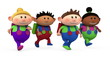 cute multi-ethnic school kids running - back to school concept