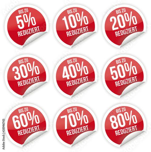 Sticker / Aufkleber / Prozent / Rot