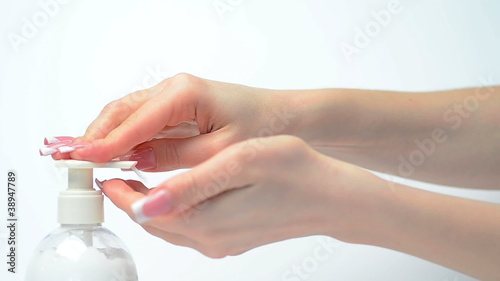 Female hands and cream. Body care