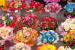 variety of bouquets of flowers, close-up