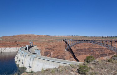 View of Glen Canyon Dam and Lake Powell, Page in Arizona USA.