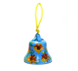 White and yellow summer Clay bell by handmade