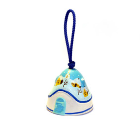 White and Blue winter Clay bell by handmade