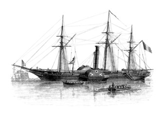 Steamer with Sails - 1830