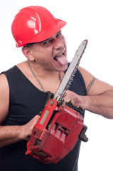 Crazy lumberjack licks the blade of dirty electric saw