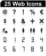 25 schwarze Web Icons