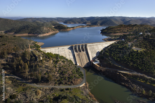 Aerial view over a dam in Andalusia, Spain