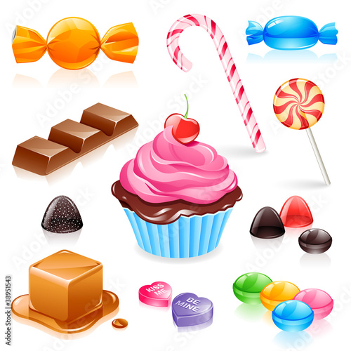 Set of various candy elements