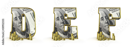 Money alphabet letters D E F