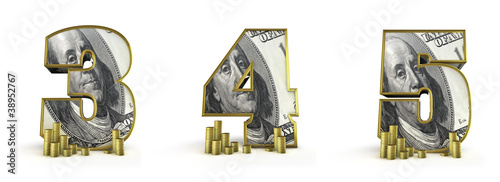 Money alphabet numbers 3 4 5