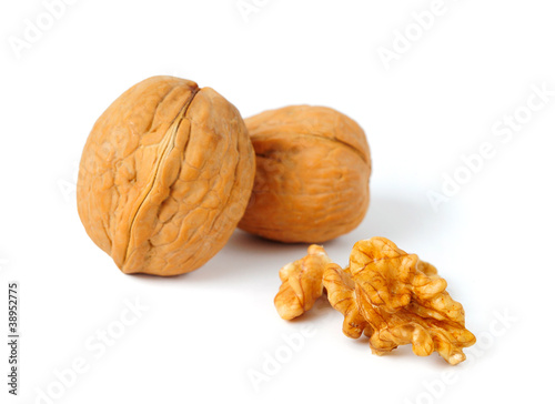 Walnut Composition on White Background