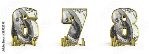 Money alphabet numbers 6 7 8