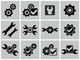 Gears as settings or configuration or preferences icons set.