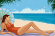 Girl lying at a beach under parasol