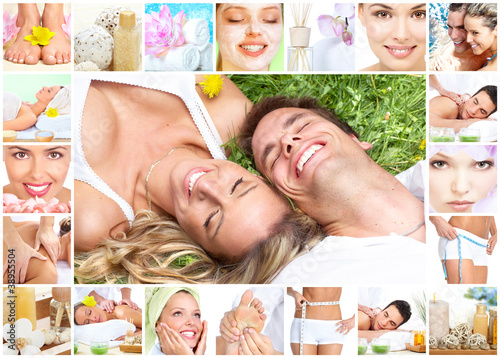 Spa massage collage.