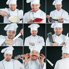 Smiling chef in uniform over dark background, collage