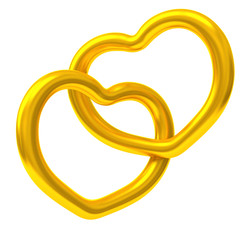 Two gold hearts forever together 3d
