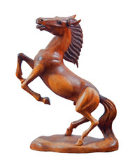 Beautiful sculpture of horse made of only one peace of wood