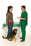Woman with dog visit veterinarian