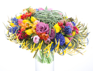 Floristics - colorful bridal bouquet of flowers on white