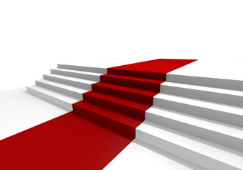 White stairs with a red carpet, 3d image
