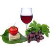 Rotweinglas mit Weintrauben