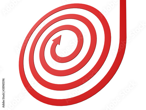 spiral shape red arrow on white background