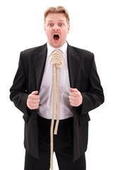 Businessman with gallow rope in neck