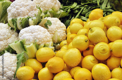 close up of lemons and cauliflower