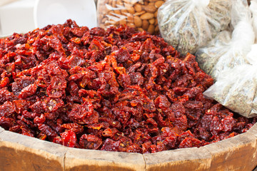 Barrel of sun dried tomatoes