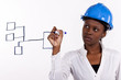 Copyspace image of woman with hard-hat making drawing
