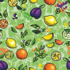 зеленый узор лимон слива и апльсин