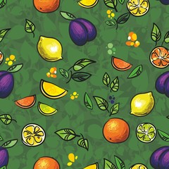 зеленый бесшовный узор слива лимон  и апельсин