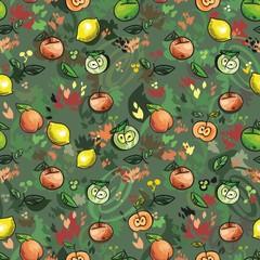 бесшовный узор фрукты и листья