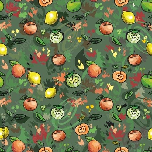 Постер, плакат: бесшовный узор фрукты и листья, холст на подрамнике