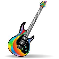 Chitarra Elettrica Arcobaleno-Rainbow Electric Guitar-Vector