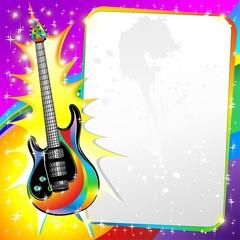 Chitarra Elettrica  Colori Sfondo-Electric Guitar Rainbow Poster