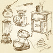 vintage cookware, kitchen utensil - hand drawn set