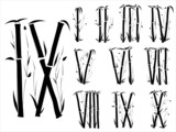 Bamboo alphabet(Roman numerals)  font in asian style(Part 3)