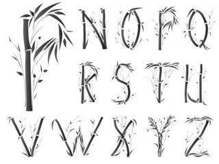 Bamboo alphabet font in asian style.