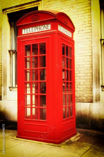 Retro obraz typowy czerwony Londyn budce telefonicznej