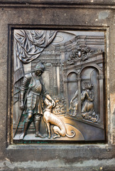 The bas-relief on the Charles Bridge in Prague