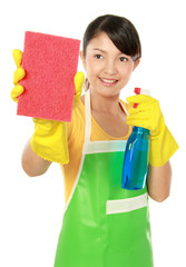 woman cleaning something