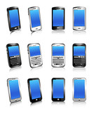 Phone Cell Smart Mobile White 3D and 2D
