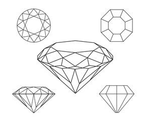 Diamonds wireframe on white background