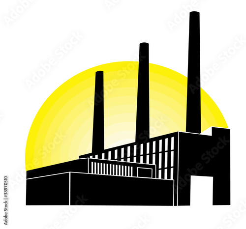 Black Factory with yellow round