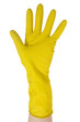Hand in yellow glove