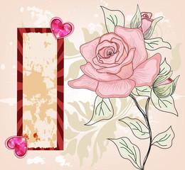 biglietto d'invito con cuori lucenti e rosa